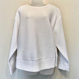 Aritzia Wilfred Free White Ribbed Zuzanna Sweater